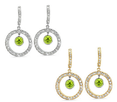 Twin Circle Pave Peridot & Diamond Earrings