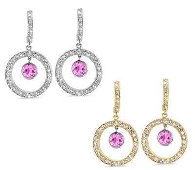 Twin Circle Pave Pink Sapphire & Diamond Earrings