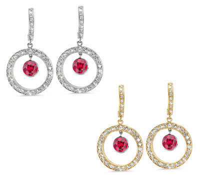 Twin Circle Pave Ruby & Diamond Earrings