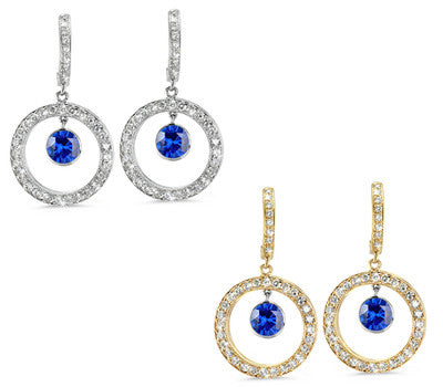Twin Circle Pave Blue Sapphire & Diamond Earrings