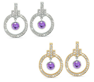 Round Shaped Amethyst & Diamond Earrings with Bow Embellishments