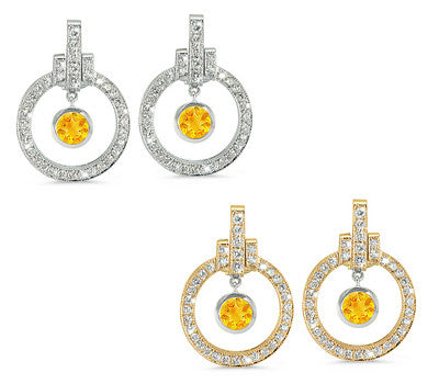 Round Shaped Citrine & Diamond Earrings with Bow Embellishments