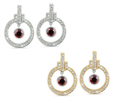 Round Shaped Garnet & Diamond Earrings with Bow Embellishments