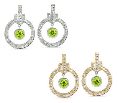 Round Shaped Peridot & Diamond Earrings with Bow Embellishments