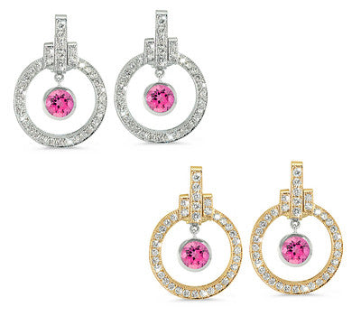 Round Shaped Pink Tourmaline & Diamond Earrings with Bow Embellishments