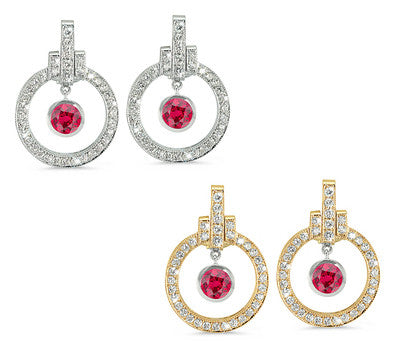 Round Shaped Ruby & Diamond Earrings with Bow Embellishments