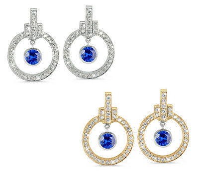 Round Shaped Sapphire & Diamond Earrings with Bow Embellishments
