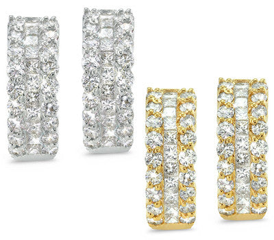 Wide Eternity Pave Set Diamond Earrings - 2.40 ctw.
