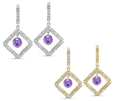 Diagonal Square Pave Amethyst & Diamond Earrings