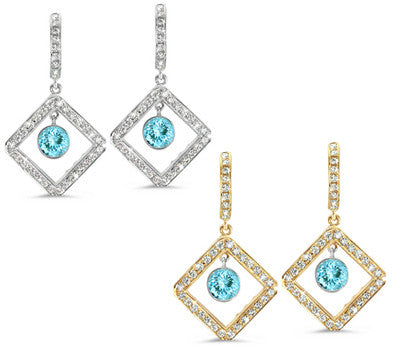 Diagonal Square Pave Aquamarine & Diamond Earrings