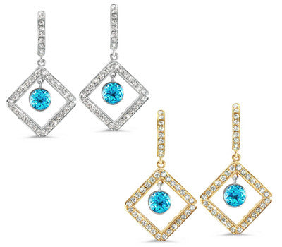 Diagonal Square Pave Blue Topaz & Diamond Earrings