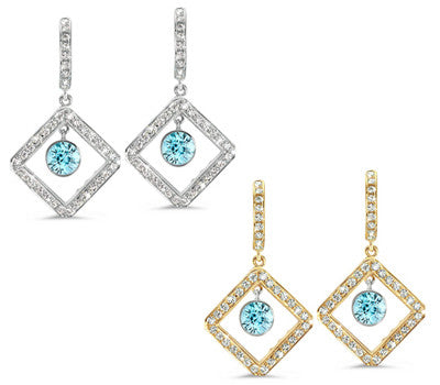 Diagonal Square Pave Blue Zircon & Diamond Earrings