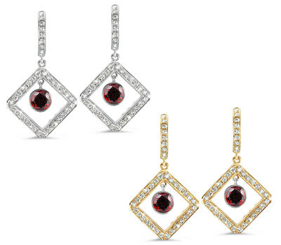 Diagonal Square Pave Garnet & Diamond Earrings
