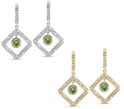 Diagonal Square Pave Green Tourmaline & Diamond Earrings