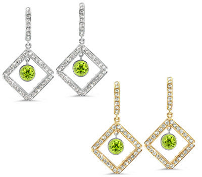 Diagonal Square Pave Peridot & Diamond Earrings
