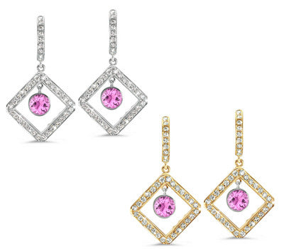 Diagonal Square Pave Pink Sapphire & Diamond Earrings