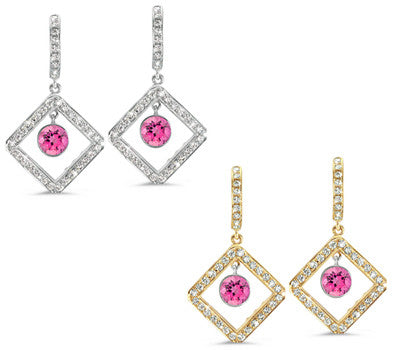 Diagonal Square Pave Pink Tourmaline & Diamond Earrings