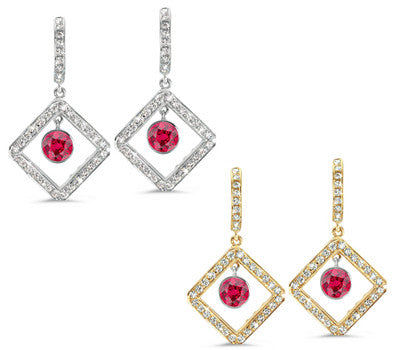 Diagonal Square Pave Ruby & Diamond Earrings