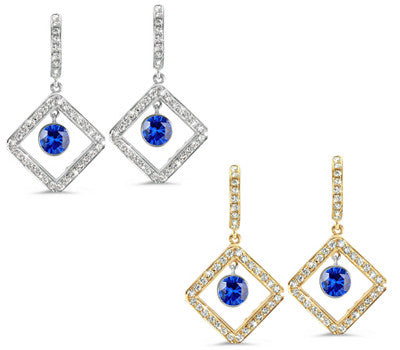 Diagonal Square Pave Blue Sapphire & Diamond Earrings