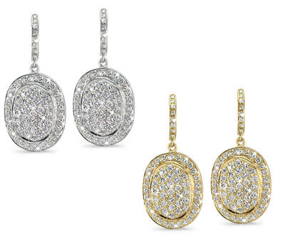 Vintage Oval, Pave Set, Large Diamond Earrings - 3.60 ctw.