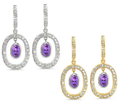 Duo Oval, Vintage Pave Amethyst & Diamond Earrings