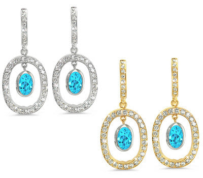 Duo Oval, Vintage Pave Blue Topaz & Diamond Earrings
