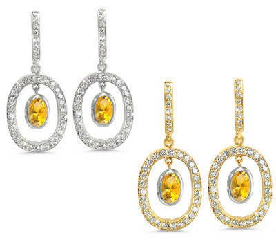 Duo Oval, Vintage Pave Citrine & Diamond Earrings