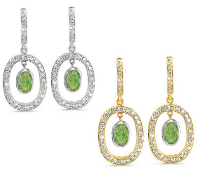 Duo Oval, Vintage Pave Green Tourmaline & Diamond Earrings