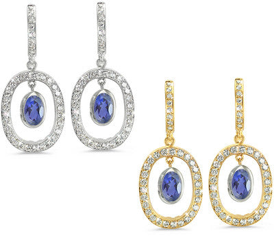 Duo Oval, Vintage Pave Iolite & Diamond Earrings