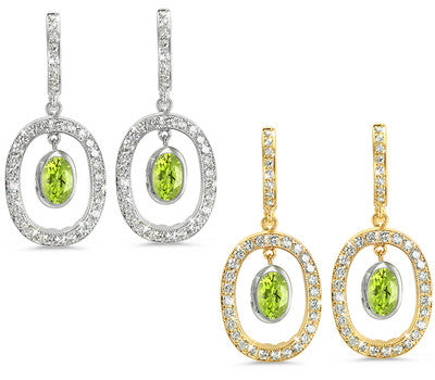 Duo Oval, Vintage Pave Peridot & Diamond Earrings