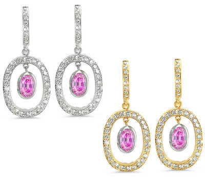Duo Oval, Vintage Pave Pink Sapphire & Diamond Earrings