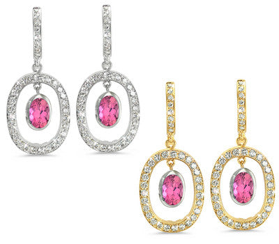 Duo Oval, Vintage Pave Pink Tourmaline & Diamond Earrings