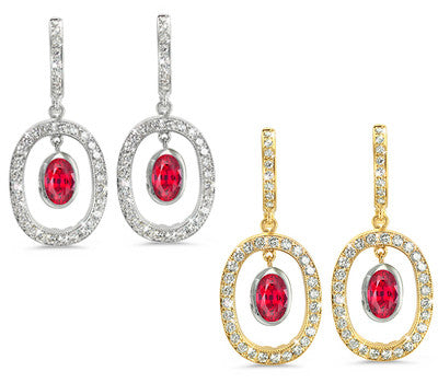 Duo Oval, Vintage Pave Ruby & Diamond Earrings
