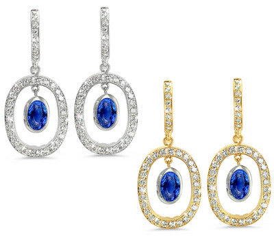 Duo Oval, Vintage Pave Sapphire & Diamond Earrings