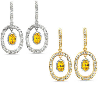 Duo Oval, Vintage Pave Yellow Sapphire & Diamond Earrings