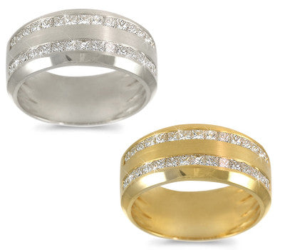 Double Row Men's Channel-Set Diamond Band - 1.45 ctw.