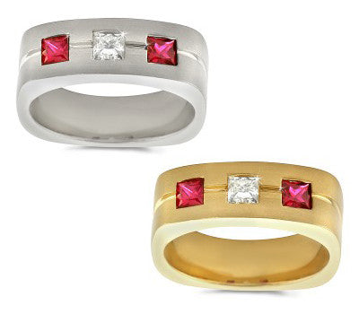 Large Trio Men's Ruby & Diamond Ring