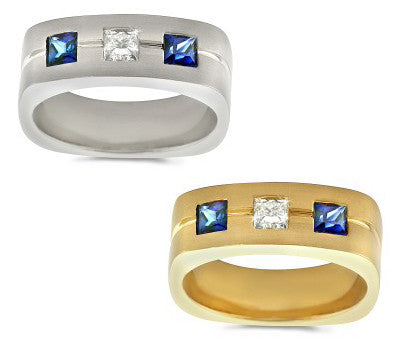 Large Trio Men's Sapphire & Diamond Ring