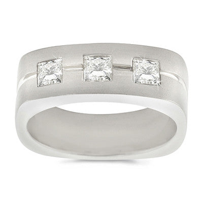 Large Men's Trio Square Diamond Ring - 1.00 ctw.