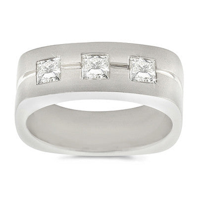Small Men's Trio Square Diamond Ring - 0.35 ctw.