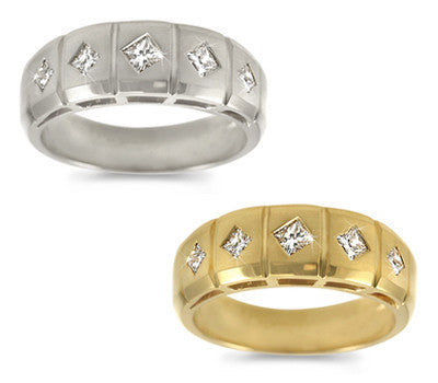 Men's Five-Stone Princess Diamond Ring - 0.55 ctw.