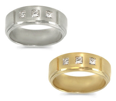 Men's Three-Stone Princess Diamond Ring - 0.40 ctw.