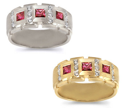 Men's Royal Ruby & Diamond Band