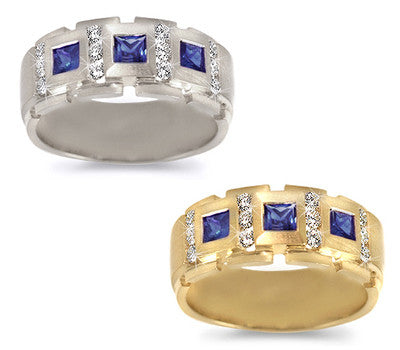 Men's Royal Sapphire & Diamond Band