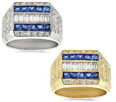 Ovation Diamond & Sapphire Men's Ring