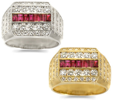 Double Row Men's Ruby & Diamond Band