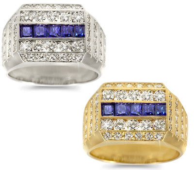 Double Row Men's Sapphire & Diamond Band