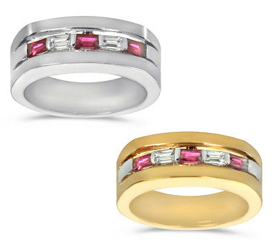 Alternating Diamond and Ruby Men's Ring