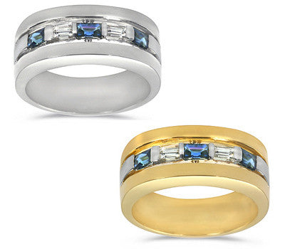 Alternating Diamond and Sapphire Men's Ring