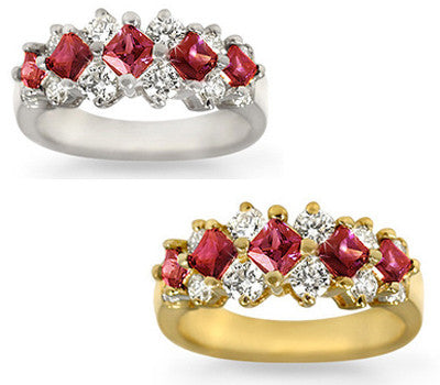 Five Ruby & Round Diamond Ring - 1.00 ctw. Rubies